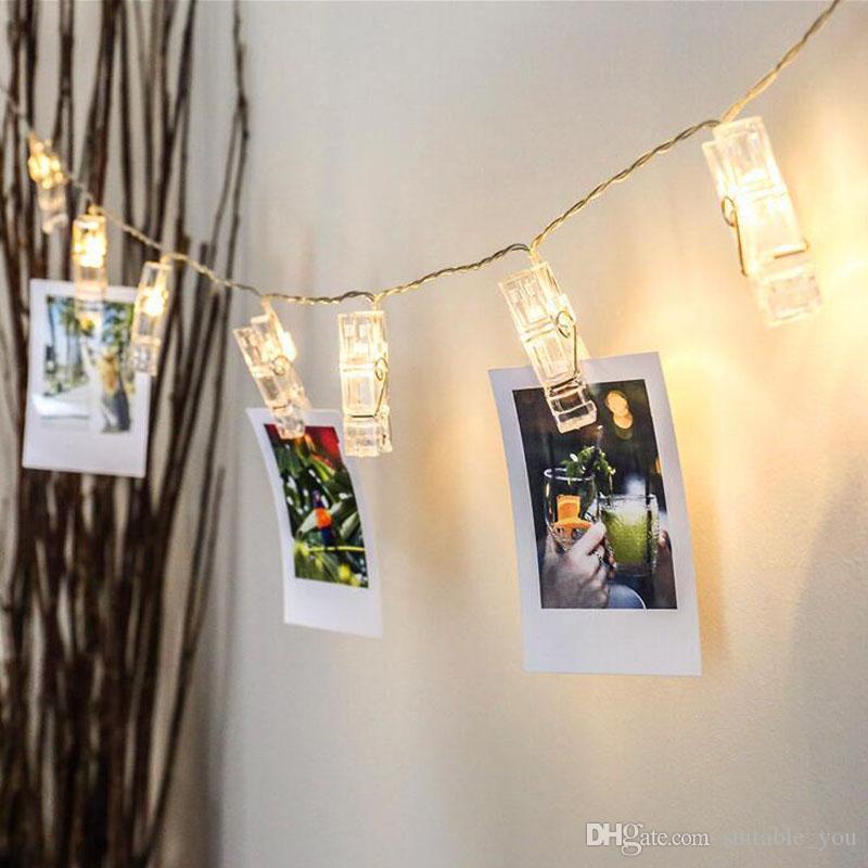 grande remise gamme exceptionnelle de styles et de couleurs meilleur en ligne MOQ: 5PCS Noël Décorer Festival DIY Lampe Chaîne Photo Clip Lumière Chambre  Ornement Romantique Fête Fournitures Pour Le Mariage Déc