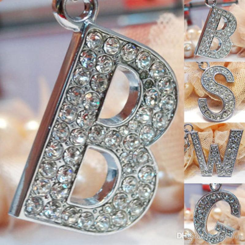 Moda nuovo cristallo strass alfabeto portachiavi iniziale lettera portachiavi catena unisex portachiavi 26 lettere