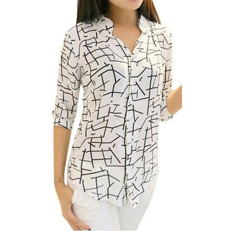 eeb26c90b09 2019 Blusas 2019 Women S Blouse Elegant Long Sleeve Print Slim Chiffon  Blouses Kimono Women Tops Blusas Mujer Chemise Femme  yl From Lixlon06