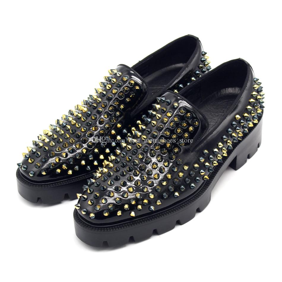 2018 SS Gold Metal Handmade Loafers High Platform Leather Dress Shoes Red Sole Big Size euro 38-46