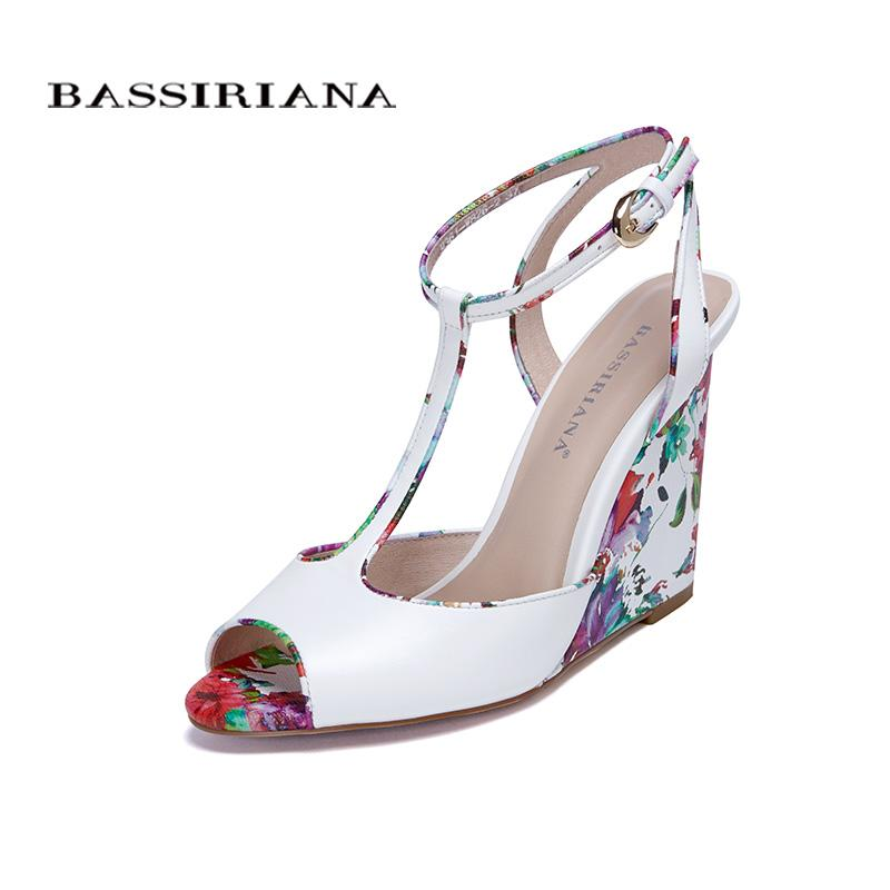 aec00d98878 Wedges Sandals Summer 2017 Best Shoes Woman Comfortable Genuine Leather  Peep Toe Ankle Strap BASSIRIANA Heeled Sandals Boys Sandals From  Fairness01