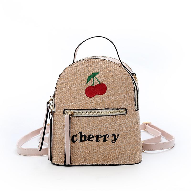 2018 New Embroidery Cherry Backpack Women Fashion PU Leather Knapsack Female  Letter Rucksack Lady High Quality Travel Backpacks Cheap Backpacks 2018 New  ... 00969791cdf62