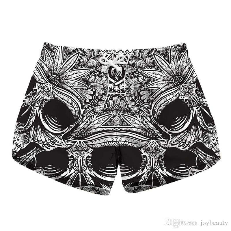 d87f4f6d2a 2019 Women Short Beach Shorts Skull 3D Full Print Girl Casual Swimming  Shorts Lady Digital Graphic Beach Pants Boardshort RLLbp 6027 From  Joybeauty, ...