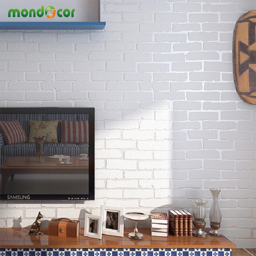 Mondecor Creamy White 3D Modern Designers Brick Wallpaper Home Decor ...