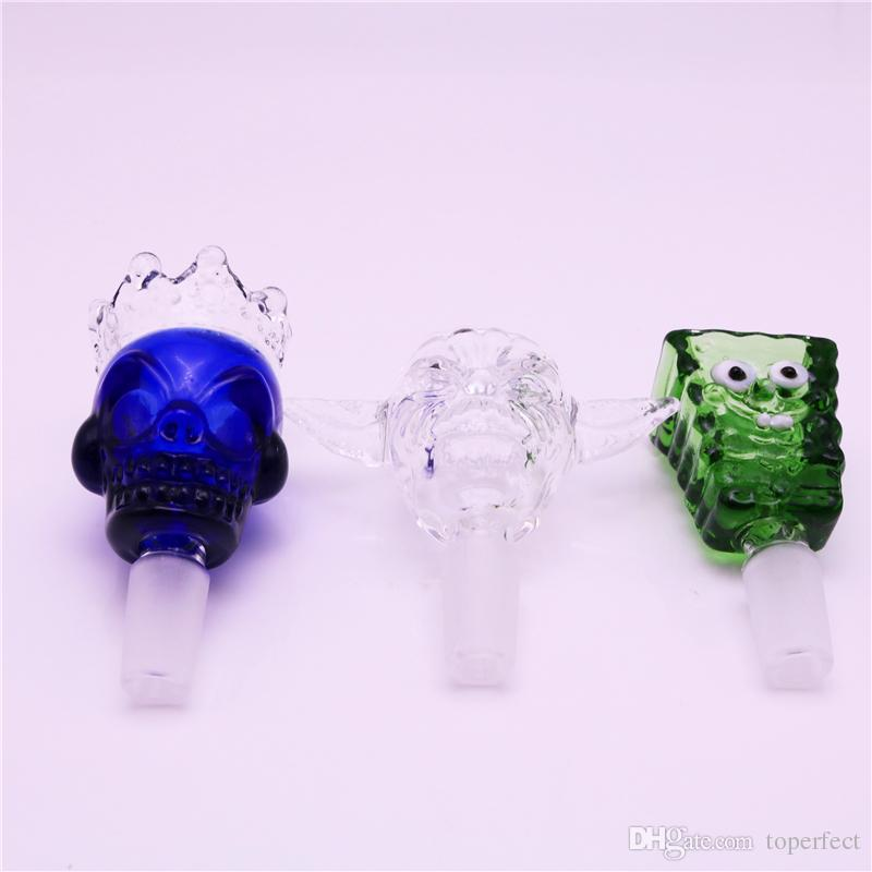 Skull Glass Bong Bowls 14mm 18mm Bowl Herb Bowl Piece Clear Blue Green bowl For Oil Rigs Glass Bongs