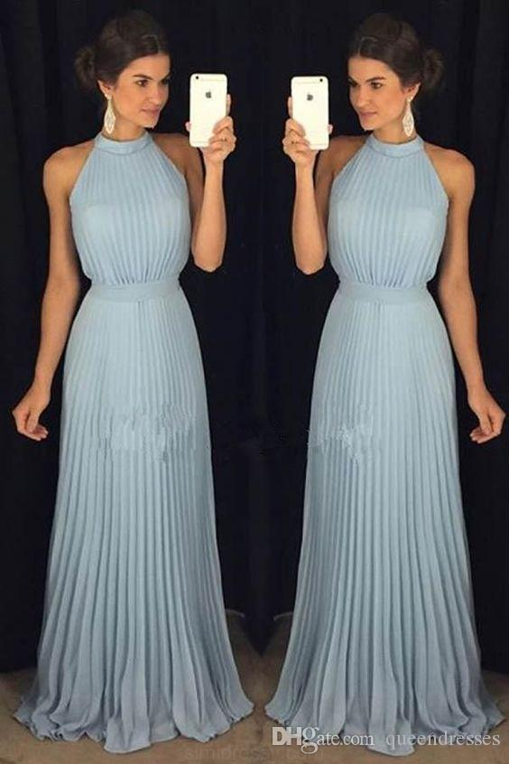 29030c3b0afa Simple Light Sky Blue Long Chiffon Evening Dresses High Neck Sheath Floor  Length Evening Gowns Formal Women Pageant Party Prom Dress Online Canada  2019 From ...