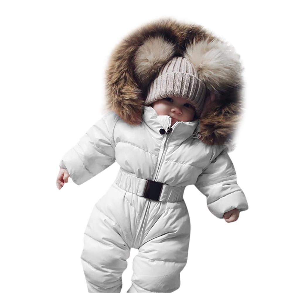 8b0928dc694d6 Acheter Vêtements D hiver Pour Bébé Fille Barboteuse Combinaison Chaude Bébé  Salopette À Manches Longues Capuche Survêtement Costume De Neige Garçon ...