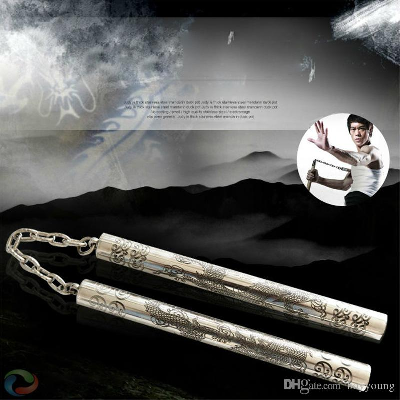 Combined Laser Sculpture Dragon Nunchakus 2 in 1 Combo Short Stick  Stainless Steel Nunchucks Self-Defense Non-Slip Actual Combat Nunchaku