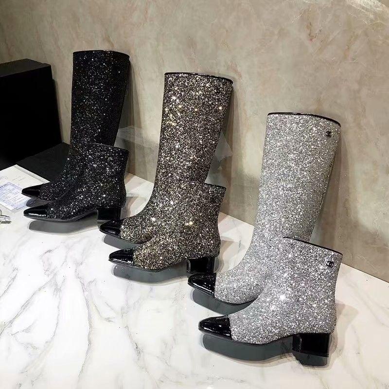6aa0ac4510 Classic Shinny Glitter two-tone boo Square toe Female Flat Boots Fashion  New Hot 2019 Women Boot