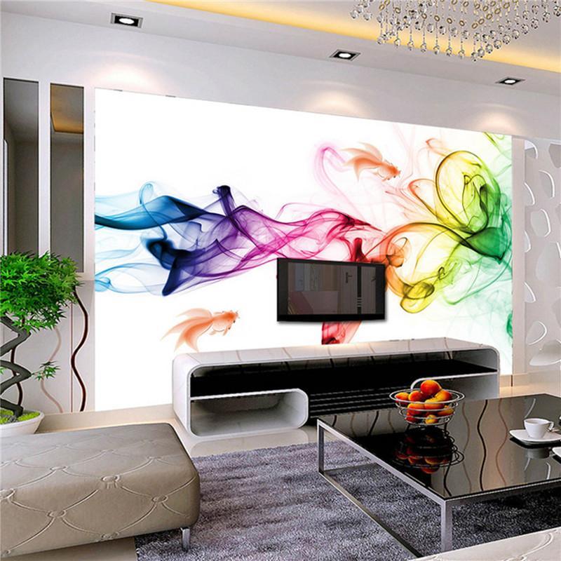 Grosshandel Individuelle Fototapeten Moderne 3d Wandbild Tapete Farbe
