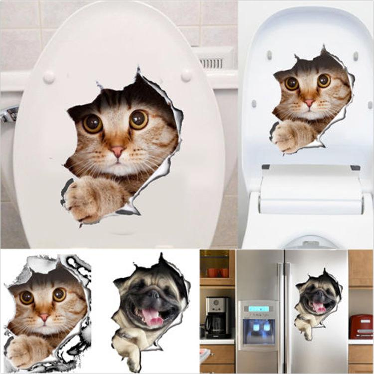 Cat Dog 3d Look Hole Wall Sticker Bathroom Toilet Decorations Kids Gift Kitchen Cute Home Decor Decal Mural Animal Poster 170926 Stickers