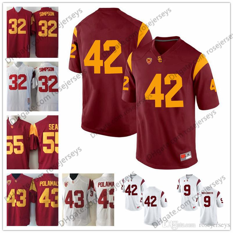 best service 65465 57dab usa trojans 42 ronnie lott red stitched ncaa jersey 95e67 745a5