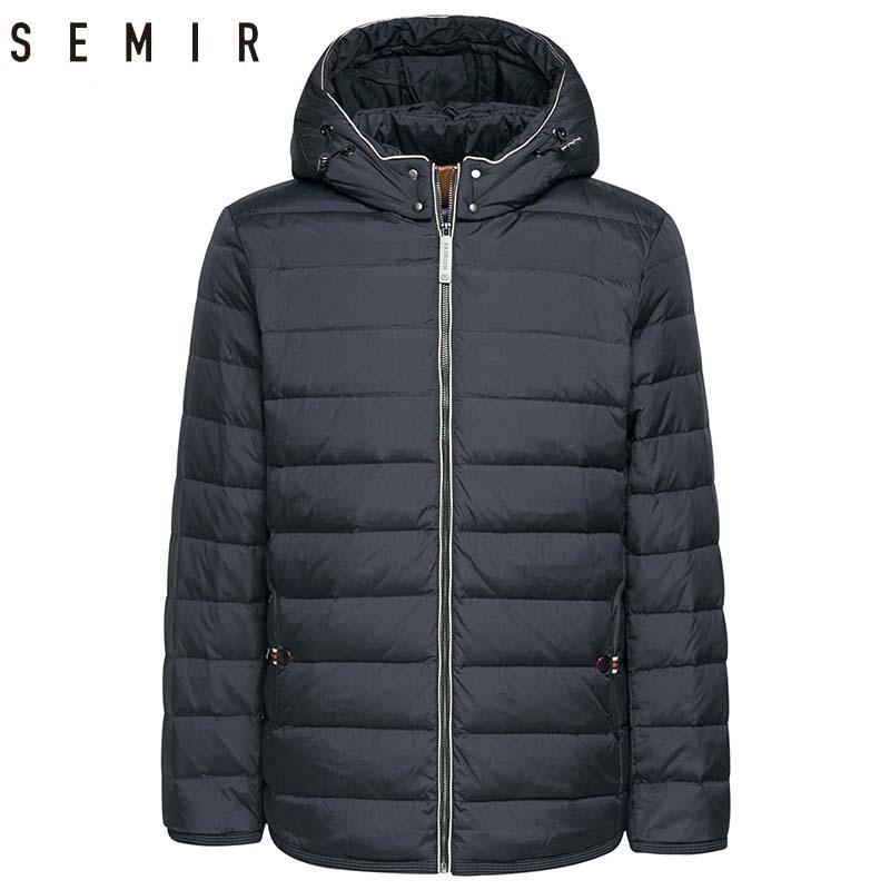 8355b57895e7e SEMIR Jacke Männer warme Ente Daunenjacken für Herren Winterjacken mit  Kapuze Mode normalen Mantel Oberbekleidung winddicht Kleidung L18101103