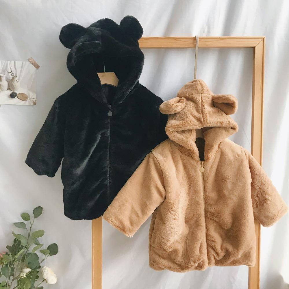 on sale a1217 91bf4 Warme winter kinderkleidung 2018 neue ohren baumwolle jacken verdicken  niedlichen cartoon bären mädchen jungen langen mantel
