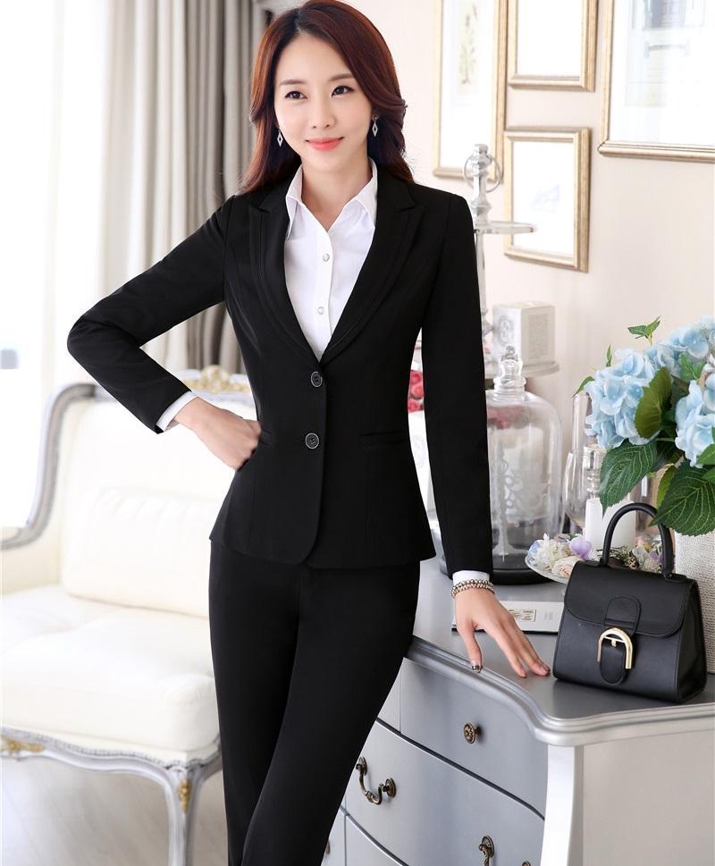 8ea33ef146c8 Acquista Plus Size 4XL Pantaloni Tute Formali Professionali Con Giacche E  Pantaloni Autunno Inverno Office Blazer Da Donna Set Di Pantaloni Femminili  A ...