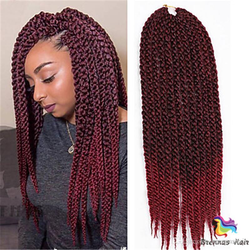 Vendita calda 24 pollici 12 fili ombre colore Sintetico Intrecciare I Capelli 3D Torsione Cubica di estensione dei capelli Crochet Trecce Fasci di capelli donna nera