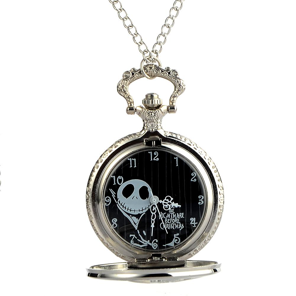 Cindiry Antique Black Nightmare Before Christmas Theme Pocket Watch ...