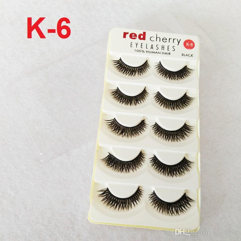 Red Cherry False Eyelashes 18 Styles Black Cross Natural Long Thick Fake Eye lashes Handmade Beauty Makeup Extentions Tools