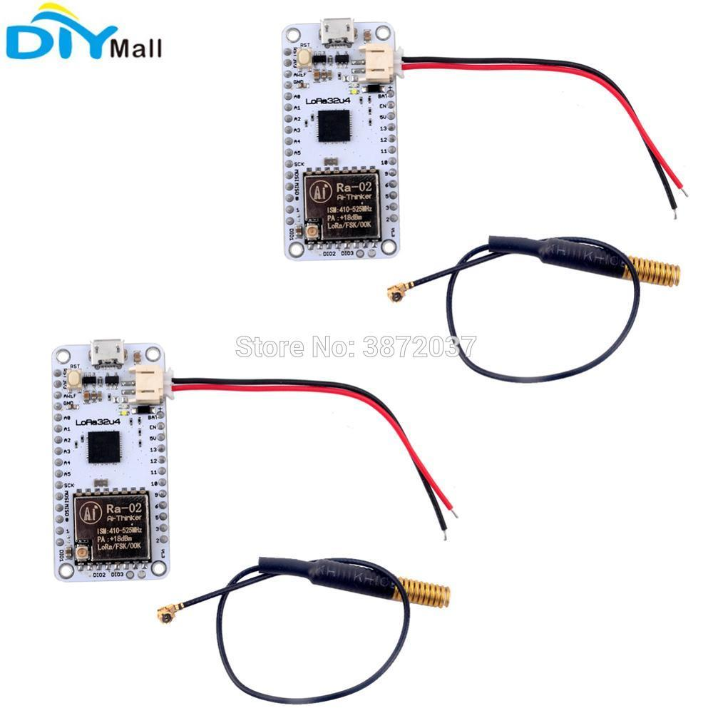 2pcs/lot 433MHz LoRa32u4 Development Board Ra02 LoRa WiFi Transceiver  Module Atmega328 SX1278 LoRa Antenna JST PH2 0mm Cable