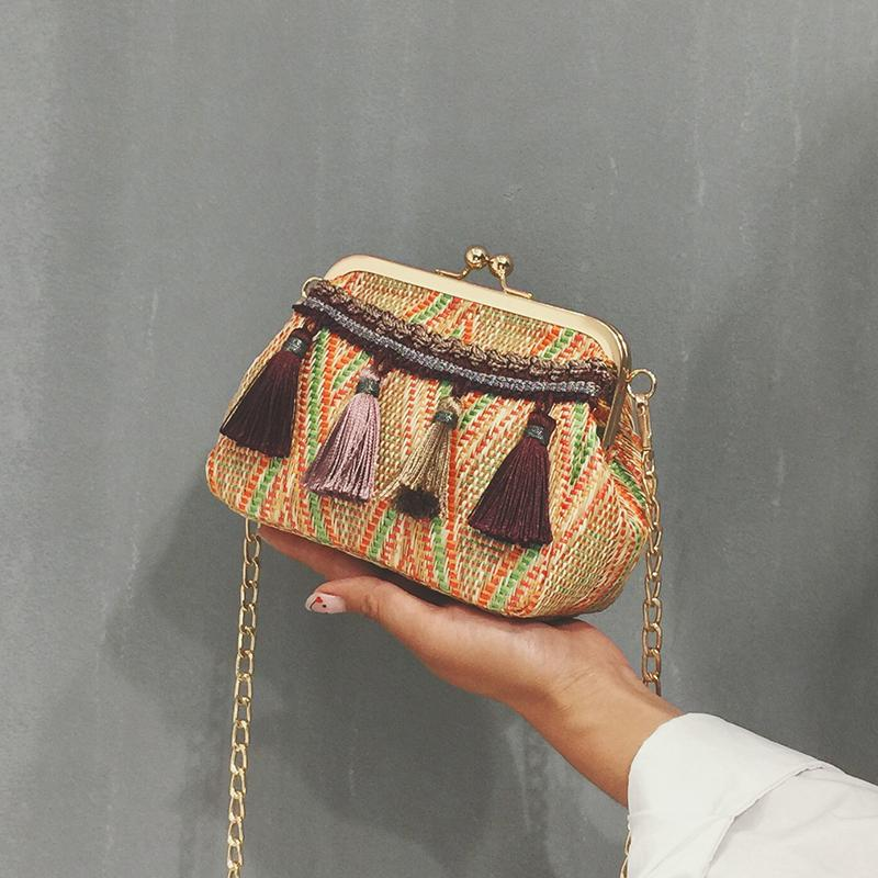 2018 Bali Island Hand Woven Bag Round Tassel Buckle Rattan Straw
