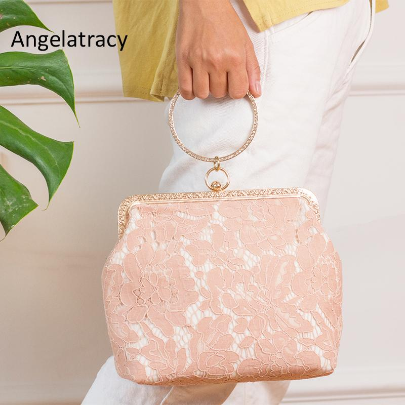 85bed5ded Compre Angelatracy Mulheres Wristlets Clutch Wristlets Bag Embreagem Bolsa  De Renda Vermelha Noite Requintada Senhora Bordado Festa De Casamento Bolsa  De ...