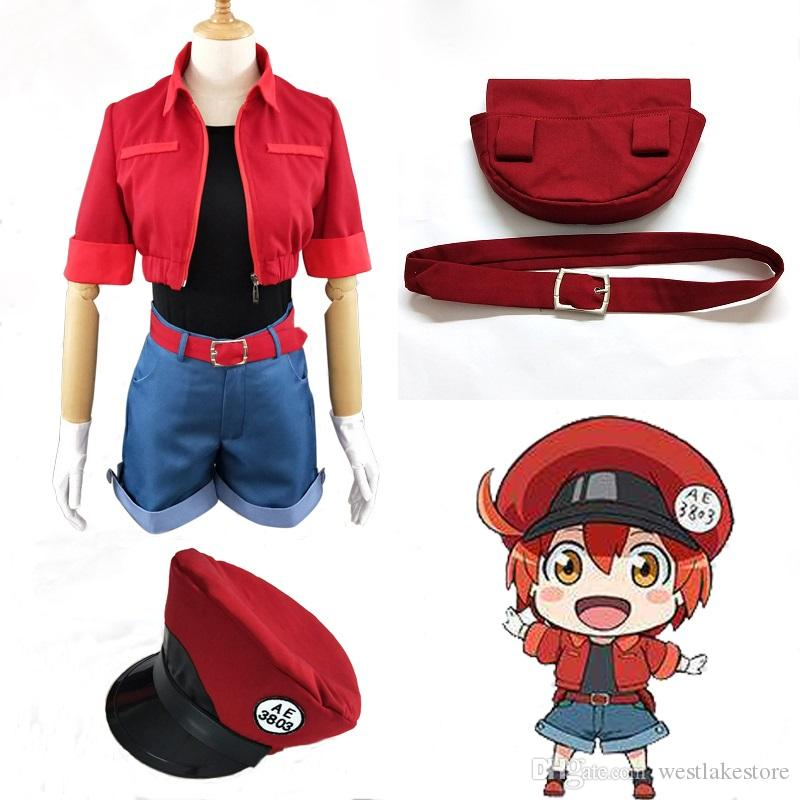 7e6fef4601 Cells At Work Cosplay Erythrocyte Uniforms Hat Anime Hataraku Saibou Red  Blood Cell Outfits Cap Cosplay Costume Custom Cosplay Costume Makers Anime  Cosplay ...