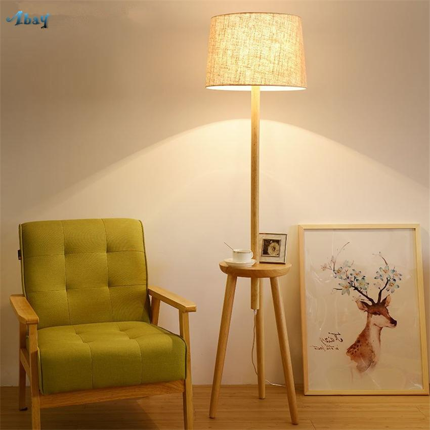 separation shoes 1fa2e 686c7 Modern Nordic Wood Standing Floor Lamps Living Room Bedroom Sofa Coffee  Table LED Floor Lights Decoration Rack Vertical Fixtures