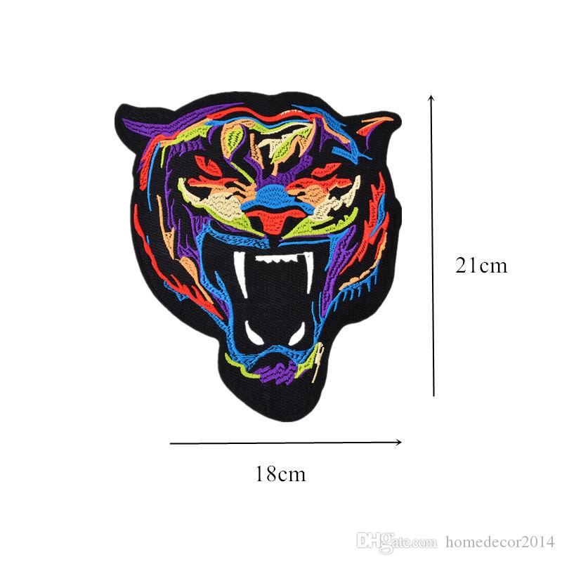 18CM Embroidered Patch Tiger Sew Iron On Patches Badge For Bag Jeans Hat Appliques DIY Sticker Decoration Apparel Accessories 18cm x 21cm