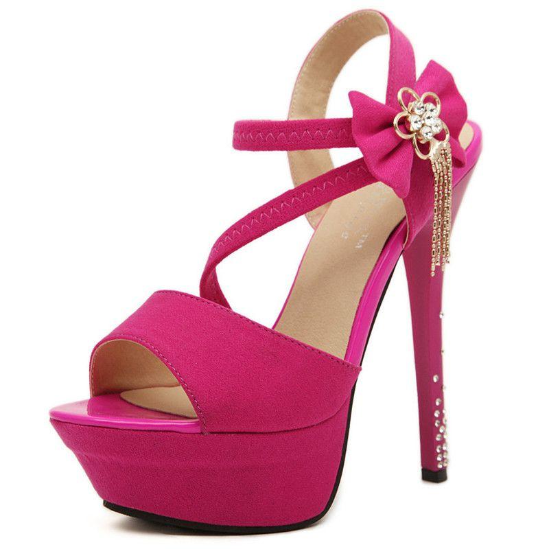 6c681183654 14.5CM High Heels Women s Open Toe Platform Heels Stiletto Heel Sandals  Blue Pink Black Pumps Sexy Buckle Flock Ladies Wedding Party Sandals