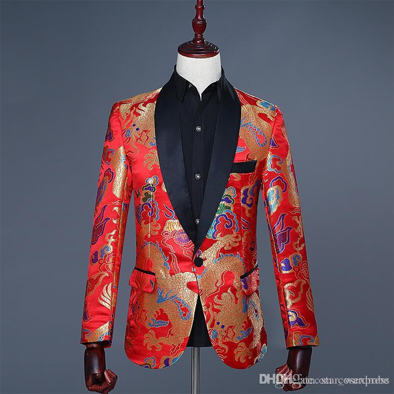 Wholesale 2018 flip-up Chinese style Red Dragon Printing Pattern wedding groom outfit Jacket Slim Stage performance clothes formal show