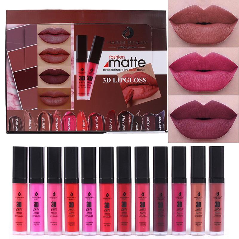 Habibi Beauty Matte Liquid Lipstick Set Waterproof Long Lasting Matt Lip  Stick 3d Matte Lip Gloss Makeup Lipstick Lips Kit Burgundy Lipstick  Cosmetics ...
