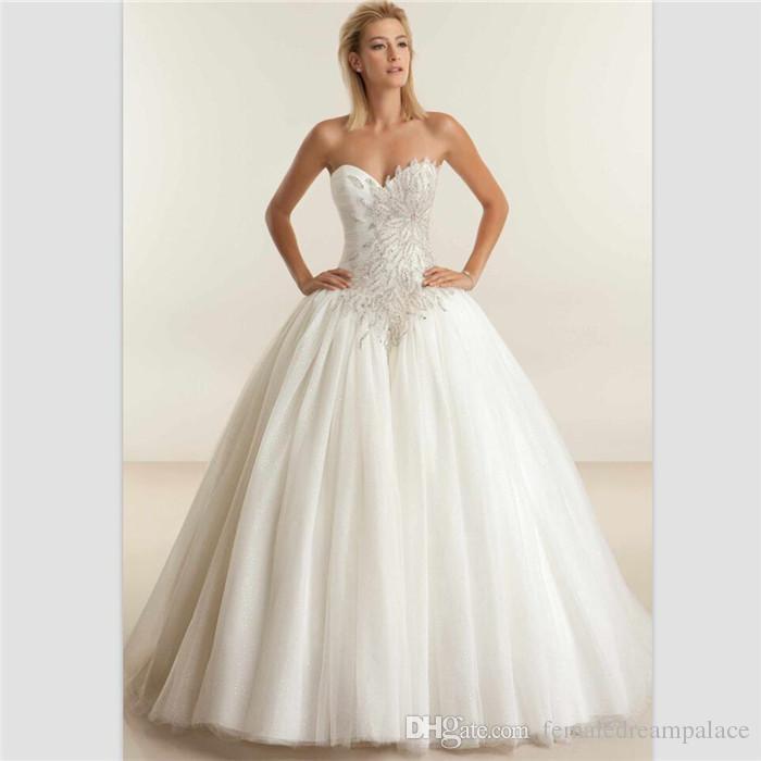 Vestido De Noiva Beads Sweetheart Ball Gown Wedding Dresses 2018 Modern  White Organza Wedding Gowns Lace Up Bridal Dress Robe De Mariage Plus Size  Bridal ... 80ee58b85b57