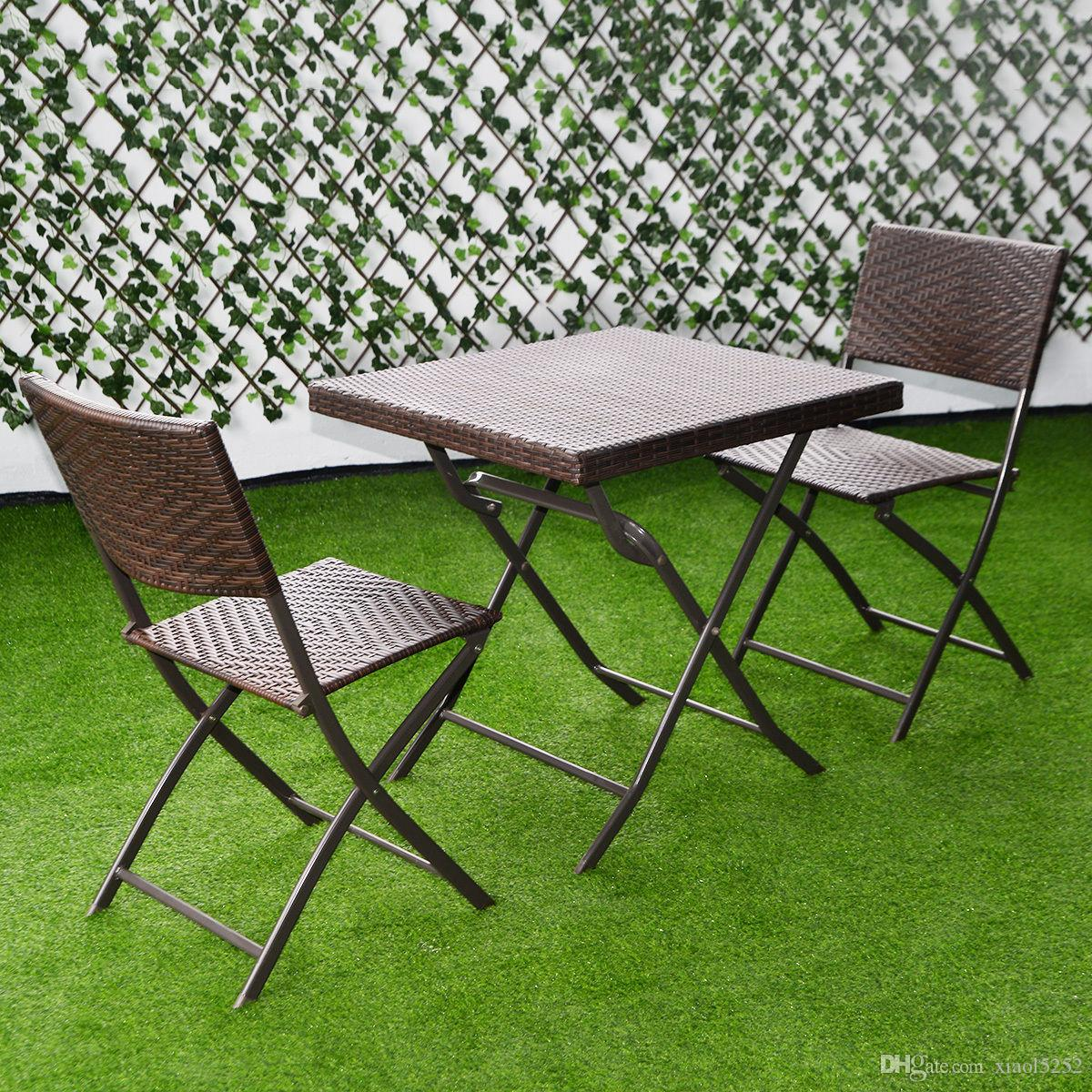 2019 outdoor folding table chair furniture set rattan wicker bistro patio brown from xiaol5252 90 46 dhgate com