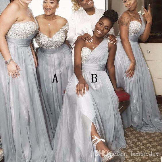 Gelinlik Modelleri 2021 Gümüş Arapça Bir Omuz Boncuklu Sequins Seksi Yan Bölünmüş Mütevazı Junior Hizmetçi Onur Elbise Düğün Parti Elbise