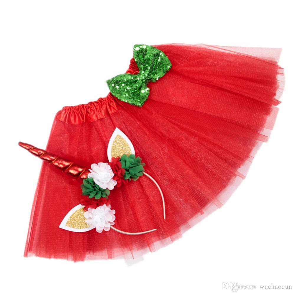 Girls INS Unicorn TUTU skirt +hair accessory sets 2018 New summer lace Bow flower decoration short skirt kids dress 1~6years