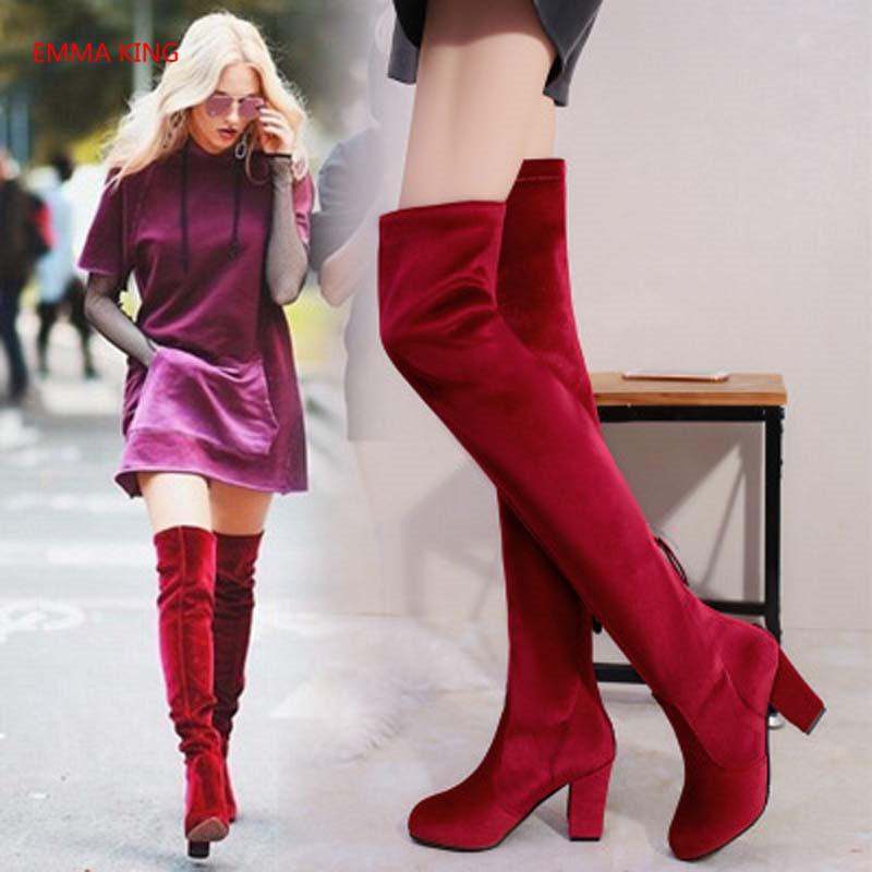 3aef32d9dd0d 2018 Autumn Winter New Women Over The Knee Long Boots Solid Suede Chunky  High Heels Booties Fashion Ladies Shoes Thigh High Boot Cheap Shoes Womens  Shoes ...