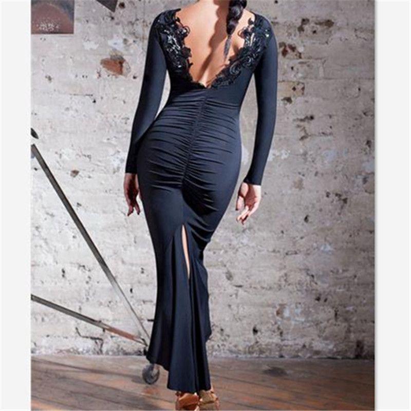 4cf54088704f 2019 Black Backless Latin Dance Dress Women Professional Latin Dress Samba  Salsa Dresses Dance Costumes Clothes Dancing From Blueberry16, $91.85 |  DHgate.