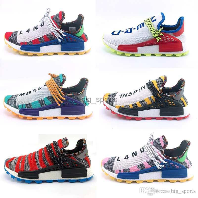 7927f923b Creme X NERD Solar PacK Human Race Running Shoes Pharrell Williams Hu Trail  Cream Core Black Equality Trainers Mens Women Sports Sneaker Womens Running  ...
