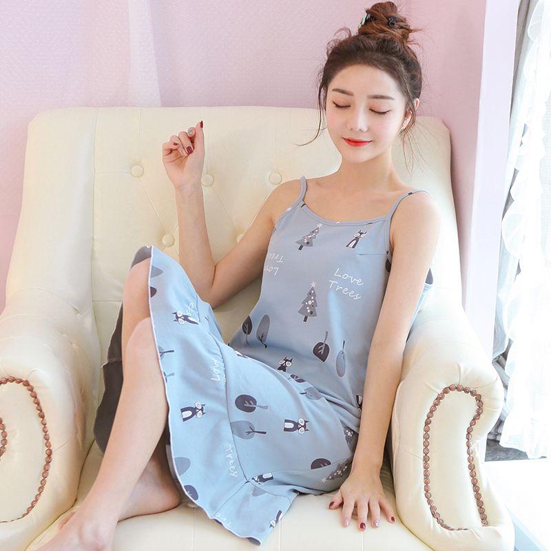 0c50e1bdc8 2018 New Vestidos Women s Nightgowns Sleeveless Short Sleeve Dress Cute  Girls Sleepwear Cartoon Bear Printed Sleepwear UK 2019 From Blueberry07