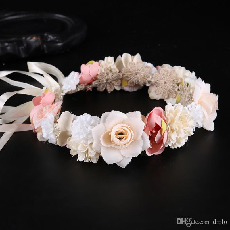 Bohemian Wedding Flower Headband Hairband Baby Bridal Headpiece Bridal Flower Crown Boho Wedding Crown Bride Head Garland Hair Flowers
