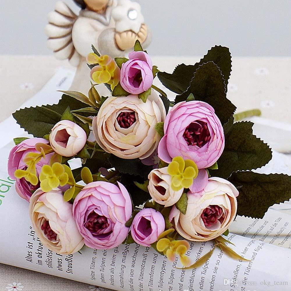 Artificial Flowers cheap Silk flower European Fall Small Tea Bud Fake Leaf Wedding Home Party Vases for Decoration