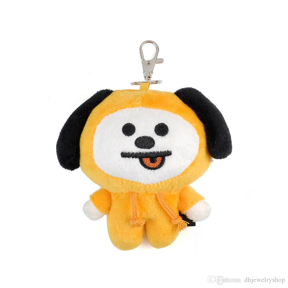Las ventas al por mayor Fashion Collection Kpop BTS BT21 Llavero de felpa Doll Keyring CHIMMY COOKY MANG KOYA Stuff Soft Toy