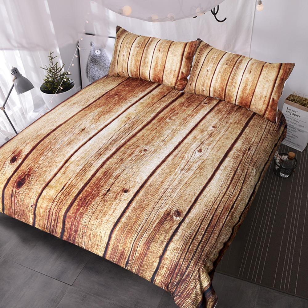 Großhandel Holz Bedruckte Bettwäsche Set Queen 3 Teilig Natur