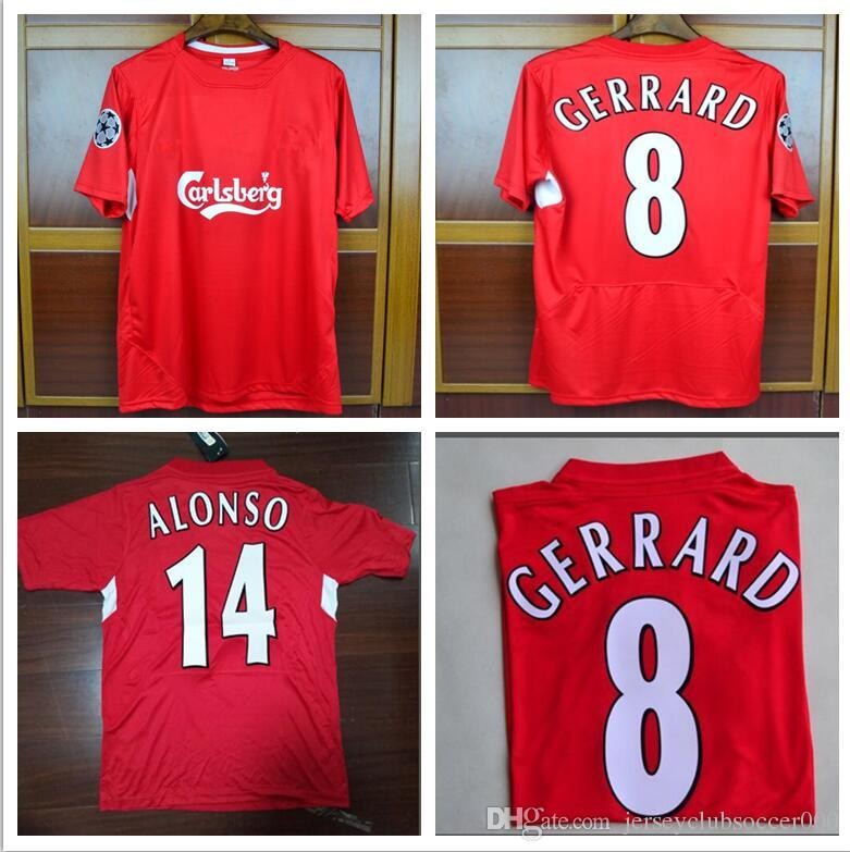 1dbdb27b6 2019 Retro Soccer Jerseys Steven Gerrard Anfield 2004 2005 Champions League  UCL Final Jersey Shirts Camiseta Home Red Football Maillot De Foot From ...