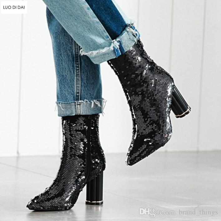 2018 New Women Sequin Boots Thigh High Booties Clear Heel Over Knee High  Boots Ladies Party Shoes Fashion Glitter Bling Booties Cheap Boots Brown  Boots From ... 440bbe665df4
