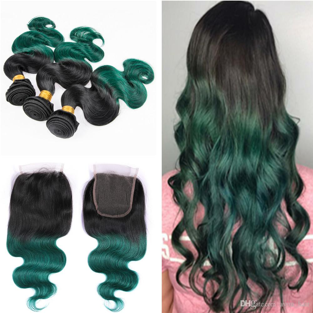 2018 Ombre Colored Green Human Hair 3 Bundles With Closure 1b Green