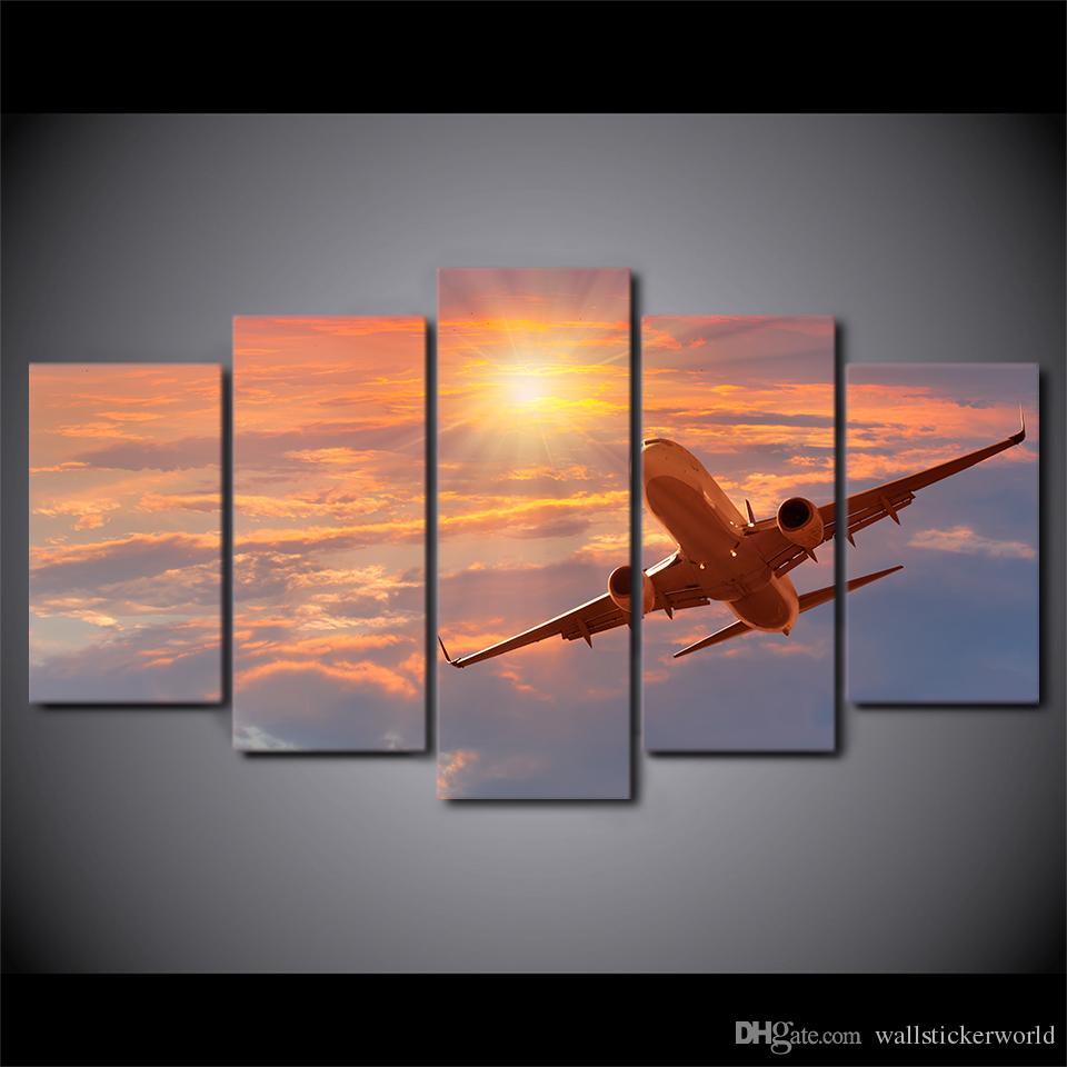 5 Panneau Coucher Du Soleil Avion Toile HD Imprimé Peinture Mur Art Décoration de La Maison Pour Salon Moderne Paysage Photos Peinture
