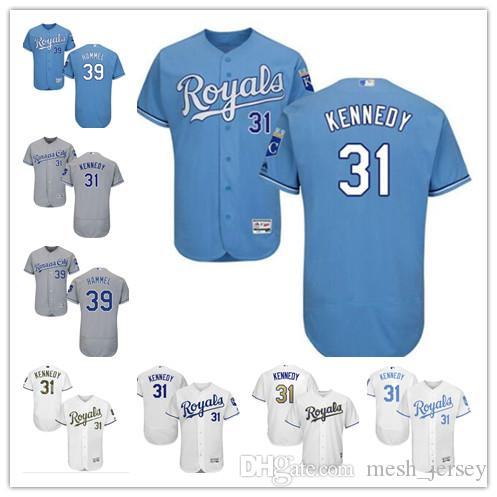 custom Men women youth Kansas City 2019 Royals Jersey #31 Ian Kennedy 39 Jason Hammel Home Blue White Grey Baseball Jerseys