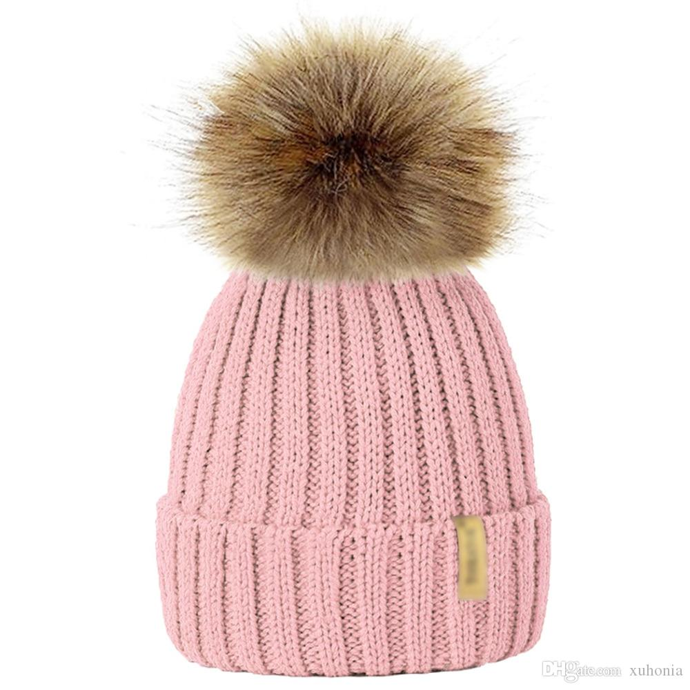 2019 Autumn And Winter Knit Hat Warm Thick Wool Hat Ball Hat Imitation Fox  Fur Ball Cap Christmas Theme Gift From Xuhonia beb416715f6