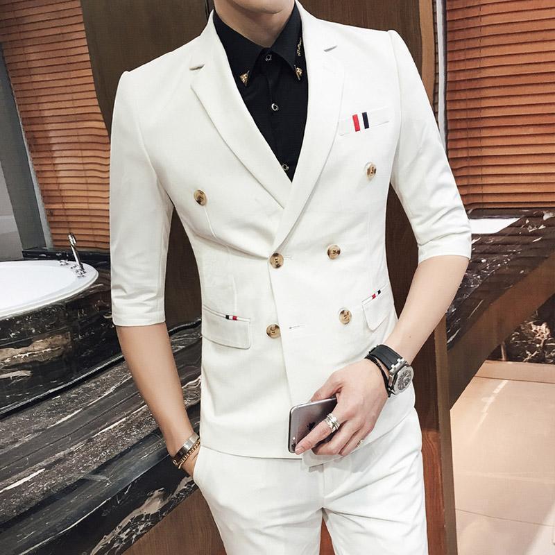 9284d8442bf1c Satın Al 2017 Safari Suit 7 Renkler Yaz Düğün Erkek Takım Elbise Yarım  Kollu Takım Elbise Pantolon Ile Erkekler Moda Yeni Casual Blazer Jaqueta  Masculina, ...